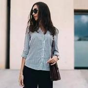 布莎卡 衬衫+九分裤的时髦穿搭