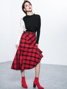 Ms.Leyna女装2018新款格子半裙