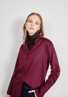 esons女装红色条纹衬衫