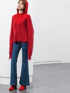 Ms.Leyna女装2018红色卫衣