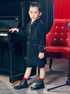瑞比克童装黑色时尚立领外套