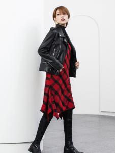 Ms.Leyna女装2018黑色皮外套