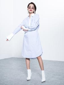 Ms.Leyna女装2018白色衬衫裙