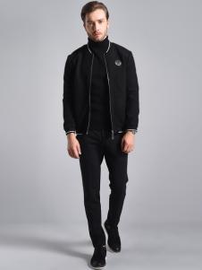 2018恩咖男装黑色休闲夹克