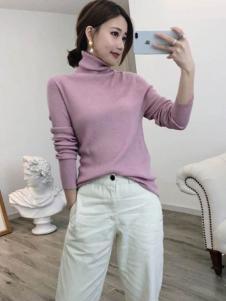 潮越女装粉色高领针织衫