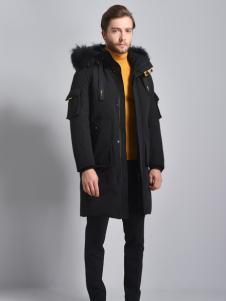 2018恩咖男装黑色连帽羽绒服