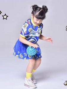 MINICHOC童装蓝色印花女裙