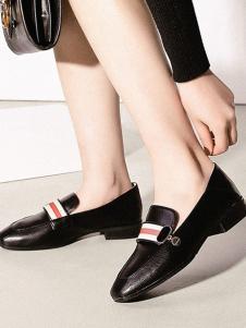 大东黑色圆头女鞋