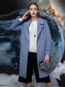 依薰女装蓝色宽松大衣