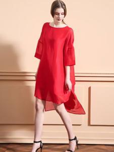 可可丽女装红色雪纺连衣裙