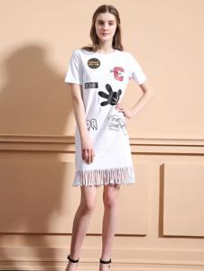可可丽女装掀印花流苏连衣裙