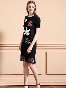 可可丽女装黑色印花流苏连衣裙