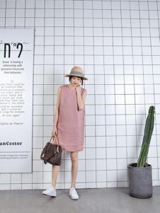 爱领领久女装粉色时尚连衣裙