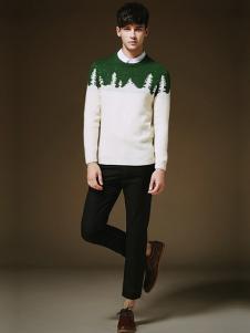 简客男装白绿拼接毛衣
