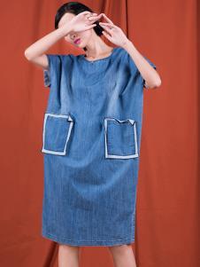 S&D女装蓝色宽松连衣裙