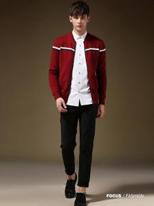 简客男装红色针织开衫