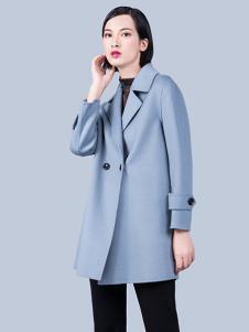 S&D女装蓝色双排扣大衣