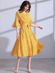 卓俪欧女装黄色 收腰连衣裙