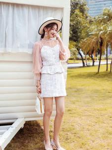 布莉吉奥女装白色网纱套装裙