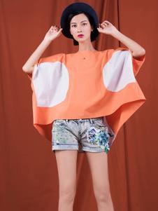S&D女装橘色宽松T恤