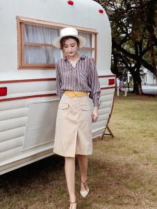 布莉吉奥女装条纹时尚衬衫