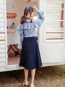 布莉吉奥女装深蓝色中长款半身裙