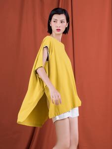 S&D女装黄色假两件T恤