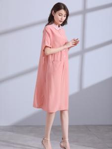 卓俪欧女装粉色休闲连衣裙