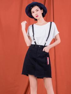 S&D女装黑色磨边半身裙