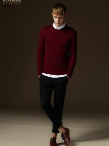 简客男装红色时尚毛衣