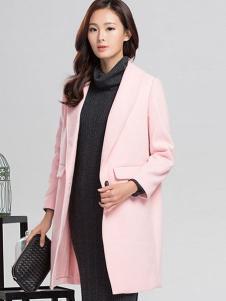 YC630女装粉色中长款大衣