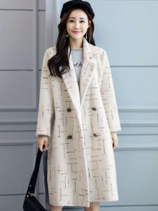 搜美女装气质米色大衣