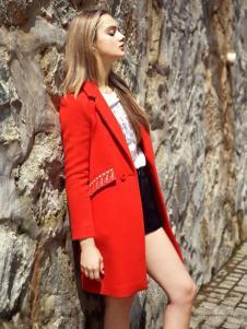 素帛女装红色中长款大衣
