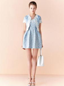 布歌女装蓝色蕾丝套装