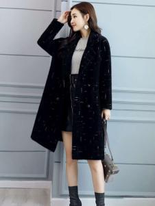 搜美女装高端时尚黑色大衣