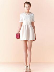 布歌女装白色休闲连衣裙