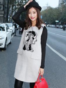 YC630女装灰色卡通连衣裙