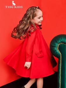 T100女童红色外套