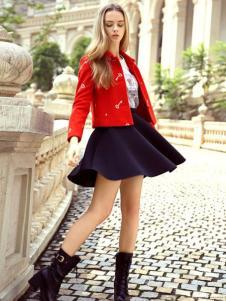 素帛女装红色印花外套