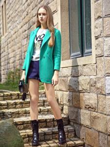 素帛女装绿色中长款大衣