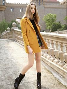 素帛女装黄色西装风衣
