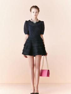 布歌女装黑色时尚连衣裙