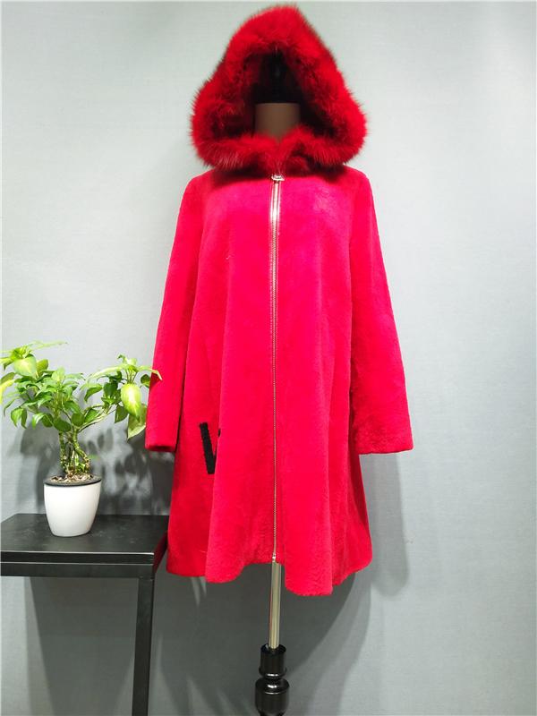 韩嘉依品牌女装羊剪绒大衣折扣一手货源批发