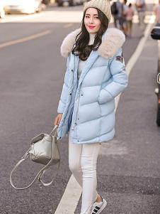 X-RUI女装蓝色休闲羽绒服