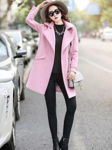 X-RUI女装粉色休闲大衣