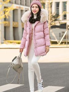 X-RUI女装粉色休闲羽绒服