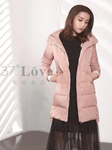 37°love女装18新款粉色羽绒服
