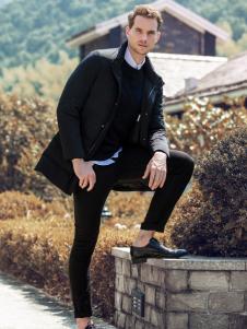 2018老爷车男装黑色大衣