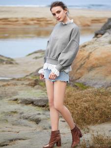 SITI女装灰色假两件卫衣