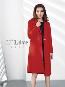 37°love女装18新款红色大衣